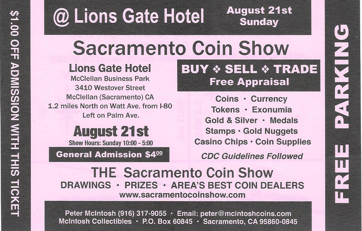 Sacramento Coin Show Flyer Coupon